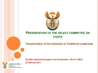Presentation to the select  committee on  cogta