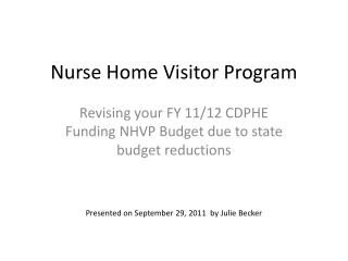 Nurse Home Visitor Program