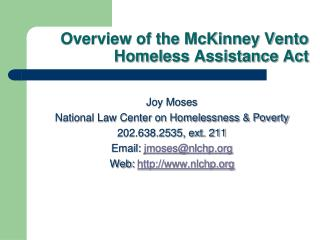 Overview of the McKinney Vento Homeless Assistance Act