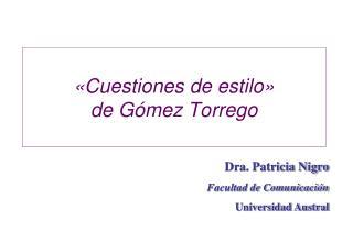 Cuestiones de estilo   de G mez Torrego