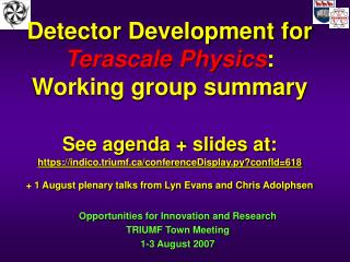 Detector Development for Terascale Physics: Working group summary   See agenda  slides at: https: