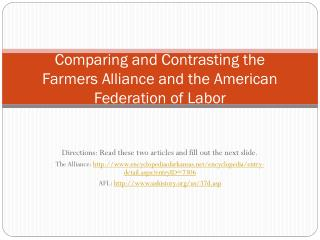 Comparing and Contrasting the Farmers Alliance and the American Federation of Labor