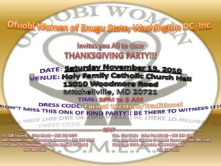 Invites you All to their THANKSGIVING PARTY!!!