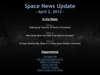 Space News Update - April 2, 2012 -