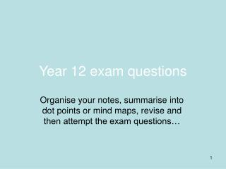 Year 12 exam questions