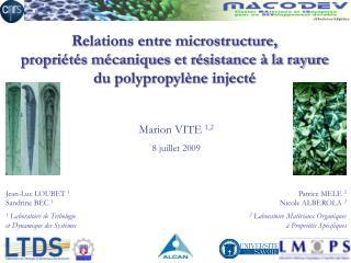 Jean-Luc LOUBET 1 Sandrine BEC 1 1 Laboratoire de Tribologie et Dynamique des Syst mes