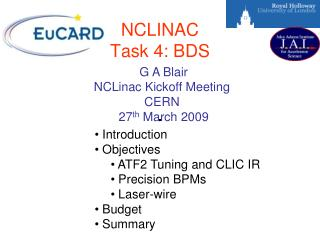 NCLINAC Task 4: BDS