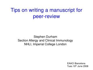 Tips on writing a manuscript for peer-review