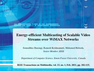 Energy-efficient Multicasting of Scalable Video Streams over WiMAX Networks