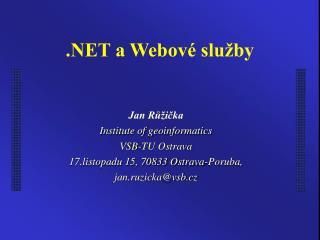 .NET a Webové služby