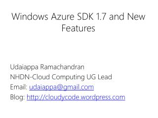 Windows Azure SDK 1.7 and New Features