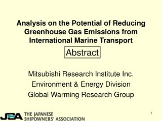 Analysis on the Potential of Reducing Greenhouse Gas Emissions from International Marine Transport
