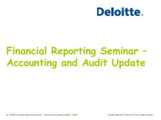 Financial Reporting Seminar �  Accounting and Audit Update