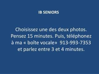 IB SENIORS