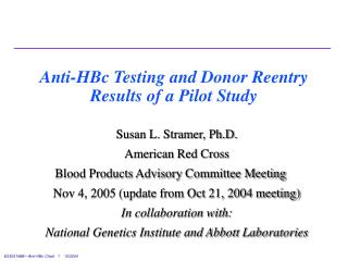 Anti-HBc Testing and Donor Reentry Results of a Pilot Study