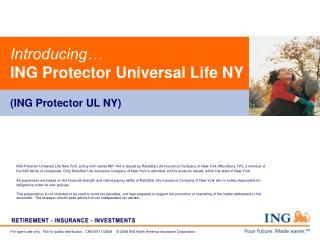 Introducing… ING Protector Universal Life NY (ING Protector UL NY)