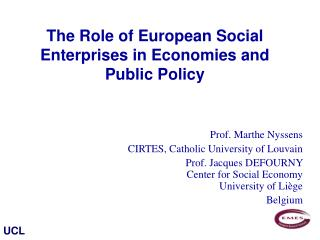 The Role of European Social Enterprises in Economies and Public Policy