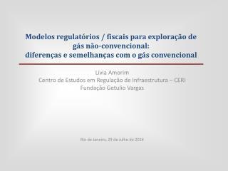 Lívia Amorim Centro de Estudos em Regulação de Infraestrutura – CERI Fundação Getulio Vargas