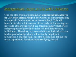 Undergraduate Degree in USA with Scholarship