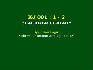 KJ 001 : 1 - 2