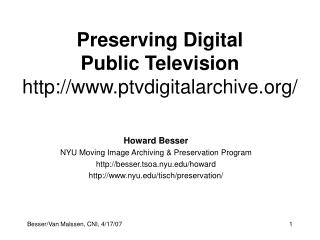 Preserving Digital Public Television ptvdigitalarchive/