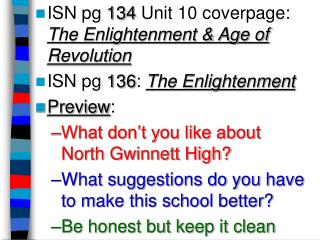 ISN pg  134  Unit 10 coverpage:  The Enlightenment & Age of Revolution