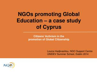 NGOs promoting Global Education – a case study of Cyprus