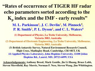 """""""Rates of occurrence of TIGER HF radar  echo parameters sorted according to the"""