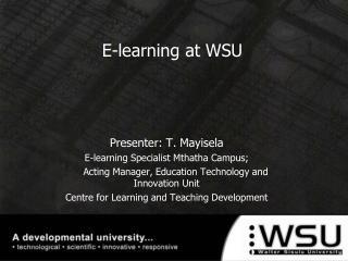 E-learning at WSU
