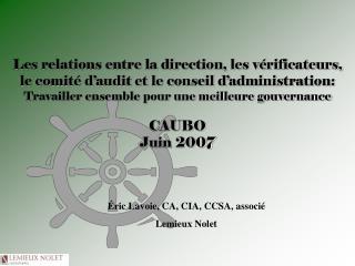 Éric Lavoie, CA, CIA, CCSA, associé Lemieux Nolet