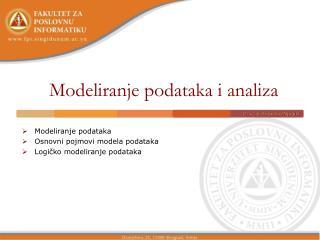 Modeliranje podataka i analiza