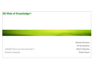 ISI Web of Knowledge TM