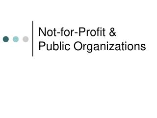 Not-for-Profit & Public Organizations