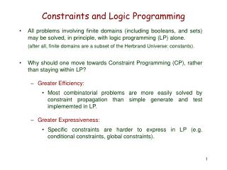 Constraints and Logic Programming