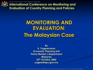 International Conference on Monitoring and Evaluation of Country Planning and Policies
