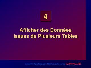 Afficher des Données  Issues de Plusieurs Tables