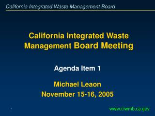 California Integrated Waste Management  Board Meeting
