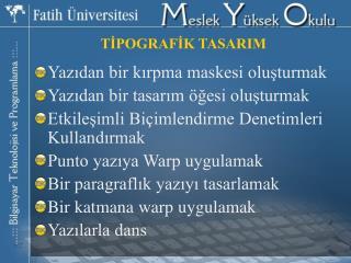 TİPOGRAFİK TASARIM