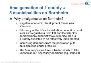 Amalgamation of 1 county + 5 municipalities on Bornholm