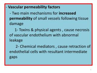 -  Vascular permeability factors