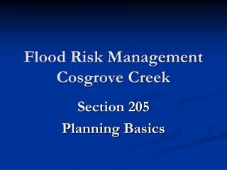 Flood Risk Management Cosgrove Creek