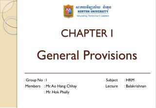 CHAPTER I General Provisions
