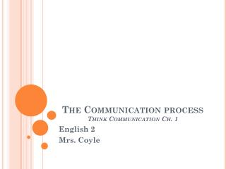 The Communication process Think Communication Ch. 1