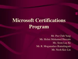 Microsoft Certifications Program