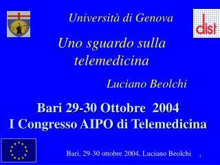 Bari 29-30 Ottobre  2004 I Congresso AIPO di Telemedicina