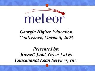 Georgia Higher Education Conference, March 5, 2003 Presented by: