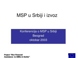 MSP u Srbiji i izvoz