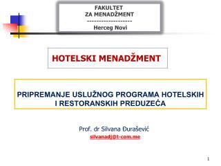 PRIPREMANJE USLUŽNOG PROGRAMA HOTELSKIH I RESTORANSKIH PREDUZEĆA