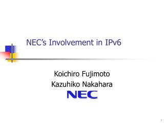 NEC's Involvement in IPv6