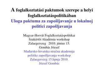 Magyar-Horvát Foglalkoztatáspolitikai  Szakértői Akadémia workshop Zalaegerszeg   2010. június 15.